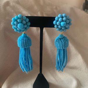 Jewelry - Blue Beaded Tassel Earrings